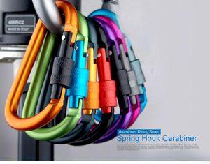 Top Qualité Aluminium D-anneau Snap Spring Hook Carabiner Lock Clip Porte-clés Escalade Sac À Dos 8 cm Mix Color