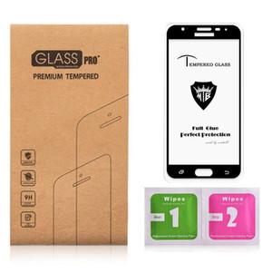 5D Curved Glass para Samsung J7 PRO 2017 Protector de pantalla Revestimiento oleofóbico 9H endurecido para Samsung A8 PLUS 2018 Vidrio templado Pegamento completo