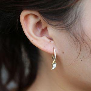 Nueva moda vintage cuerno de oro cuelga los pendientes micro pave cubic zirconia cuerno pendientes elegantes 925 joyas de plata para las mujeres