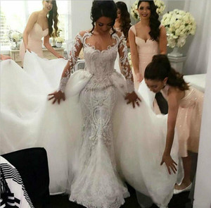 2018 Sexy Mermaid Wedding Dresses Lace Applique Retro Bridal Gowns with Detachable Tulle Overskirt Neck Sheer Long Sleeves Wedding Dress