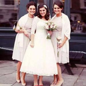 Más el tamaño corto Vintage Tea Length Vestido de boda País Escote redondo Ilusión Encaje Mangas largas Vestidos de novia baratos por encargo