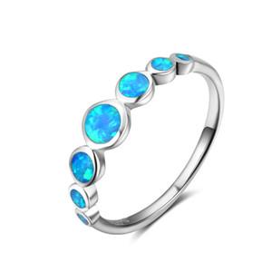 China Handmade Blue Fire Opal genuína 925 Sterling Silver Ring Mulheres de presente da jóia dubai prata 925