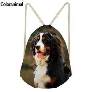 Coloranimal لطيف الكلب حيوان طباعة المرأة الرباط حقيبة بيرن جبل الكلب رجالية عادية نسيج سلسلة الظهر عارضة حقيبة الشاطئ