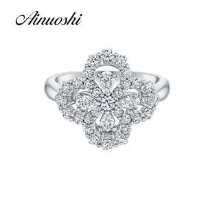 AINOUSHI новый уникальный дизайн цветок форма обручальное кольцо груша вырезать Сона чистого стерлингового серебра 925 для женщин любителей обручальное обещание S18101608