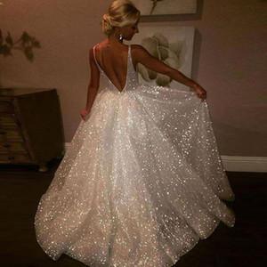 Sparkle Paillettes Abiti da sera bianchi scollo a V Cinghie trasparenti Illusion Corpetto Backless Abiti formali Autunno Donna Prom Dresses Ball Gown