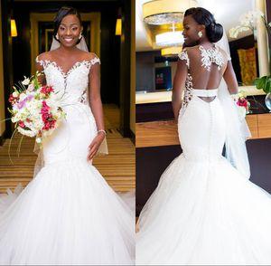 Afrikanische Meerjungfrau Brautkleider 2018 Sexy Backless Lace Black Girl Applique Sweep Zug Boho Brautkleid Brautkleider