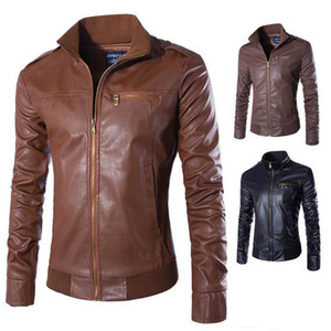 New Famous Motorcycle Leather Jackets Men Solid Business Casual Coats Autumn Winter Leather Clothing Bomber Jacket for Male