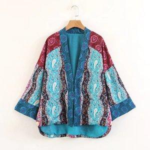 Yeni gelenler euro kadın moda açık dikiş uzun kollu çiçekler baskı ceket bayan rahat gevşek ceket ücretsiz gemi