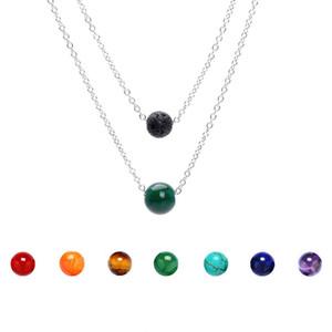 New 8mm Lava Rock e 10mm 7 cores Chakra Pedra pingente de Multi-camadas colares de Prata cadeia de aço Inoxidável Para as mulheres Moda Jóias