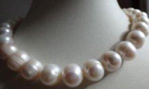 """molto Fashion 13-14mm south sea bianco perle barocche collana 18 """"14k giallo gol"""