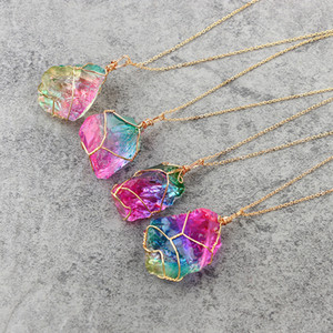 Crystal Pendant Natural Original Stone Rainbow Colorful Transparent Chain Crafts Gifts Seven Color Necklace Free Shipping 8 2lg V