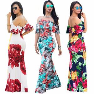 Off плеча Женщины Макси платья 2020 Гофрированные Bohemian платья Короткие рукава Summer Beach Платья Robe Longue Femme
