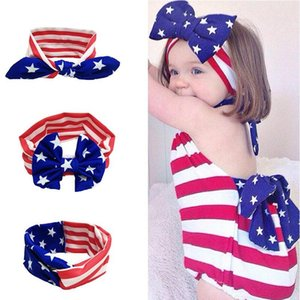New Newborn American Stars Stripes Bandiera fascia nazionale giorno bambini Arco Elasticità Fascia per capelli Accessori per capelli