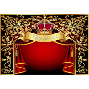 Personnalisé Cirque Fête D'anniversaire Toile de Fond Imprimé Or Fleur Motifs Rouge Rideaux Royal Crown Princesse Bébé Douche Fond