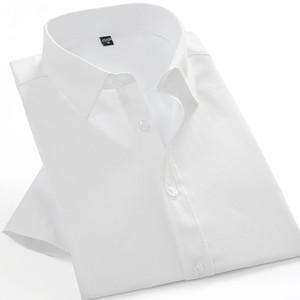 Camicia a maniche corte da uomo in cotone estivo Camicie da uomo slim fit Camicie tinta unita Tasche casual Mane da lavoro Camicie