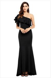 Nuevo vestido de noche elegante Volante cuello oblicuo Hombro Falda de cola de pescado Vestido de noche Vestido delgado vestidos de baile Envío gratuito