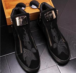 2020 heiße Verkäufe Side Zip-Plattform Luxuxstickerei Loafers Herren Schuhe Veloursleder Leder-Mode Wohnungen Herren Schuhe Casual Designer EUR38-43