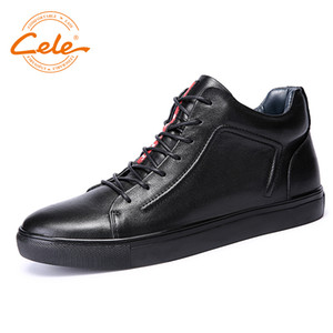 CELE  Ankle Boots Men Genuine Leather Casual Shoes Add Woolen Keep Warm Shoes Plus Size For 38-47