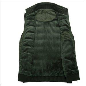 Veste d'hiver hommes gilet doublure de laine manteau chaud sans manches vestes casual mens gilet en molleton armée vert gilet en gros