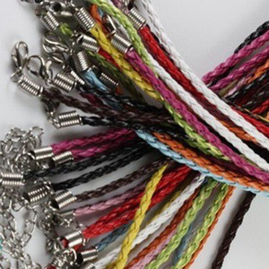 100pieces / lot 3mm 17-19inch pelle gioielli cavo collana regolabile colori assortiti Faux intrecciato