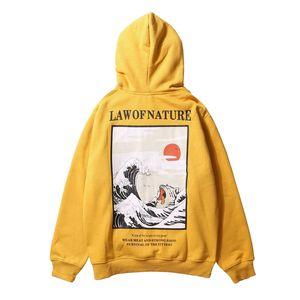 Japanese Embroidery Funny Cat Wave Printed Fleece Hoodies 2018 Winter Japan Style Hip Hop Casual Sweatshirts Streetwear