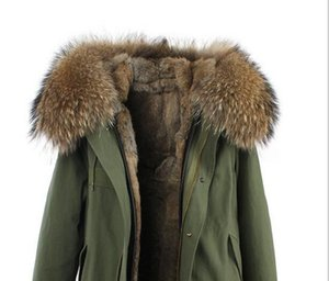 Jazzevar women snow coats brown rabbit fur lining army green canvas mini parkas with brown raccoon fur