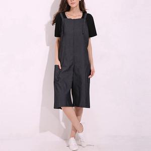 Zanzea ثوب فضفاض للمرأة بذلة 2018 مثير خمر أكمام حزام قابل للتعديل واسعة الساق السراويل الجينز العجل طول الصلبة وزرة