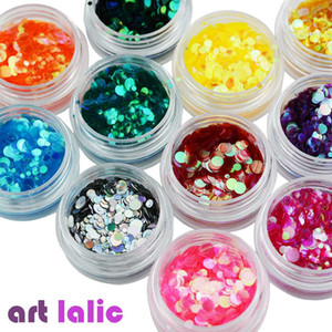 Artlalic 12 Boxes/Set Mermaid Fish Scale Nail Sequins Round Glitters Manicure Nail Art Tips Decorations Factory Price