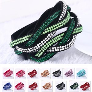 Gros-8 couleurs de mode strass pu tresse cuir bracelet wrap bracelet cristal multicouche bracelets bracelets pour les femmes