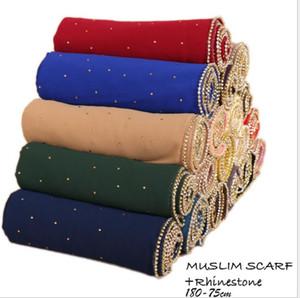 새로운 이슬람교 Hijab 여성 쉬머 스카프 라인 석 다이아몬드 쉬폰 반짝이 Hijab 헤드 커버링 패션 스카프 이슬람 Hijabs 19 COLOR