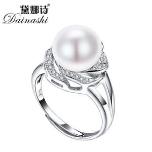 Big Desconto 925 jóias de prata esterlina na venda grande natural pérola anéis para as mulheres anel de pedra ajustável branco / rosa / roxo pérola Y1892606