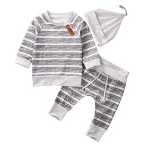 2018 Bebê Recém-nascido Meninos Listrado Cinza Top Calças Chapéu 3 Pcs Set Outfits Manga Longa Estilos Breve baby Boy Roupas 0-18 M