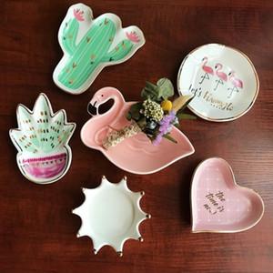 5 pcs Moda criativa Placas decorativas de Cerâmica Jóias Bandeja de armazenamento de alimentos prato de Sobremesa cactus flamingo palma casa decorações