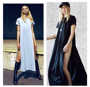Seksi Kadın Elbiseler Yüksek Yan Bölmeleri Maxi Uzun Tee Elbise Vestidos De Fiesta Rahat Clubwear Bandaj Beyaz Siyah