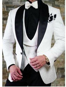 Высокое Качество Одна Кнопка Белый Пейсли Шаль Лацкане Жениха Жених Смокинги Шафер Костюмы Мужские Свадебные Костюмы (Куртка+Брюки+Жилет)