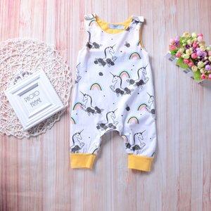 2018 Yeni Unicorn Bebek Tulum Vücut Suit Tek parça Tulum Kolsuz Pamuk Takım Elbise Çocuklar Tulumlar Bebek Tırmanma Giysi