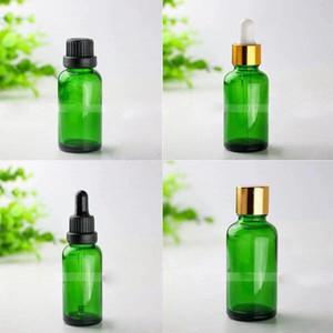 녹색 유리 스포이드 병 유리 병 오일 스포이드 E 블랙 골드 실버 뚜껑 액체 리필 병 비우기 30ML