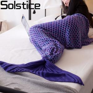 Solsticio Hilo de manta de punto Mermaid Tail Blanket Crochet hecho a mano Muy suave para el hogar Sofá saco de dormir Niños adultos saco de dormir