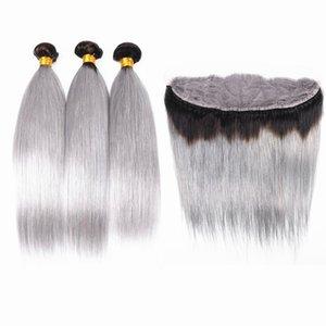 Tissage de cheveux humains vierges de couleur grise avec frontal # 1B Gris Ombre de cheveux soyeux droit 13x4 oreille to front frontal avec faisceaux Lot de 4pcs
