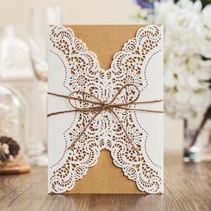 2018 빈티지 결혼식 초대장 카드 또는 저녁 초대장 수제 맞춤형 양각 된 고품질 파티 청첩장 카드