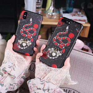 Caja del teléfono Diamond Bee para iPhone X XS Max XR 6 6 s 7 8 8 plus Carcasa Iphone Shell con bling con insecto pequeño Teléfono con cubierta trasera popular