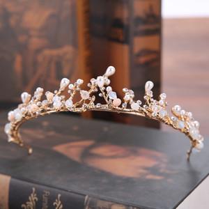 Coronas nupciales de la vendimia Cristales de diamantes de imitación coronas de la boda de la mascarada Accesorios para el cabello Collar pendiente del pendiente Set Tiaras Barroco Chic hecho a mano