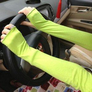 Calentadores de brazos 2018 Recién llegado Mujeres Guantes sin mangas elásticos sólidos de manga larga Protector solar Mezcla de cachemira Calentadores de brazos Manga
