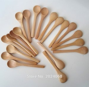Eco Friendly 20pcs / Lot 5inch cuillère en bois Ecofriendly Japon Arts de la table soupe Scoop café de miel Thé à tête ronde cuillère Agitateur