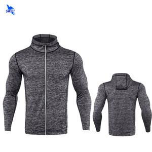2018 Printemps À Manches Longues Hommes Running Veste Fitness Respirant À Capuche Sweat Zipper Slim Fit Pull Hoodies Gym Sportswear