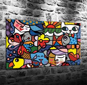 Arte astratta sfondo colorato, pittura su tela soggiorno Home Decor moderna pittura a olio di arte murale