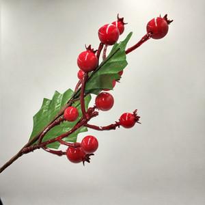 27 cm Ramas de bayas artificiales Fruta falsa Flor de bayas artificiales Inicio de Navidad Decorativo Rojo Cherry Stamen