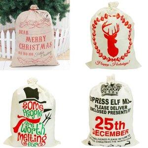 Sacs de cadeau de Noël Linge de cordon porte-cadeaux Joyeux Noël Bas wapiti Sac Pochette Bonbons Favor cadeau