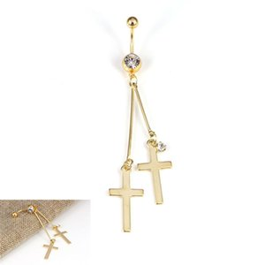 Cross Piercing Women Dangle Belly Button Rings Piercing ombelico Body Jewelry color oro argento