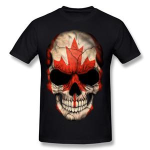 Homme 100% Coton Drapeau Canadien Crâne Tee-Shirts Tee-Shirts Homme Col Rond Orange Manches Courtes